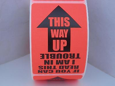 THIS WAY UP THIS SIDE UP THIS END UP 2x3 Warning Sticker Label Red Flour 250/rl