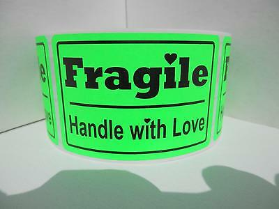FRAGILE HANDLE WITH LOVE 2x3 fluorescent green Warning Stickers Labels 250/rl