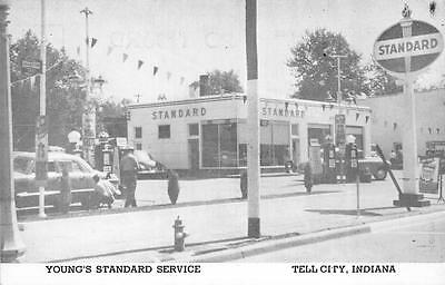 YOUNG'S STANDARD SERVICE GAS STATION TELL CITY INDIANA POSTCARD (c. 1940s)