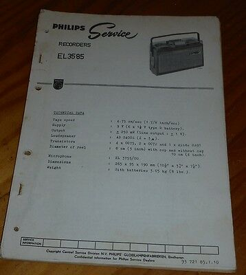 Philips reel to reel tape recorder EL3585 service notes with updates & correctio