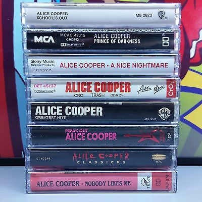Alice Cooper lot of 8 Cassette Tapes ~ classicks freak out nobody prince 15z