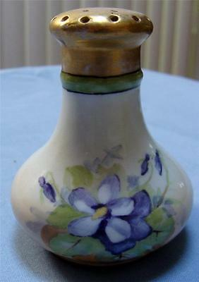 Stunning Antique China Violet Single Salt Shaker Gold Top Signed with Green Mark