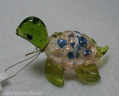 x GLASS FIGURINE turtle blown art glitter CORAL PINK BLUE animal handmade ganz