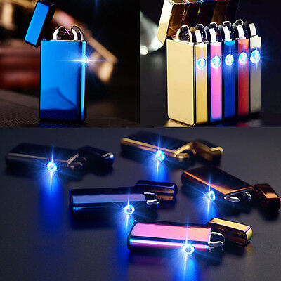 New Flash Windproof Cigar Dual Arc Cigarette Lighter USB Rechargeable Eletric