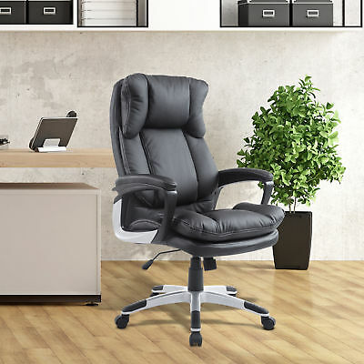 PU Leather High Back Executive Office Chair Task Ergonomic Computer Desk Black