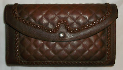 Vintage Brown Embossed Leather & Hide Checkbook Wallet - Made in Brazil