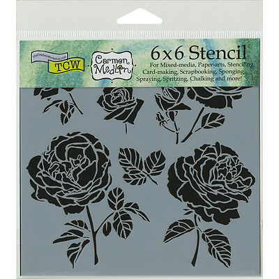"""CRAFTERS WORKSHOP TCW6X6-514 Cabbage Roses Template, 6 by 6"""""""