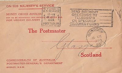 Stamp 1939 Postmaster General Sydney cover Money Order Advice to Scotland cachet