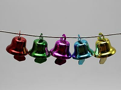 50 Mixed Color Jingle Bells Charms Pendants 14mm for Christmas Craft