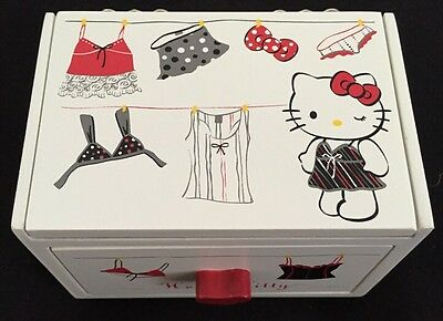Hello Kitty Wooden 1 Drawer Jewelry Box With Mirror New NIB