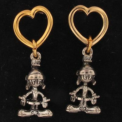EARRINGS Marvin The Martian WARNER BROS LOONEY TUNES WB Gold Silver HEART 4101