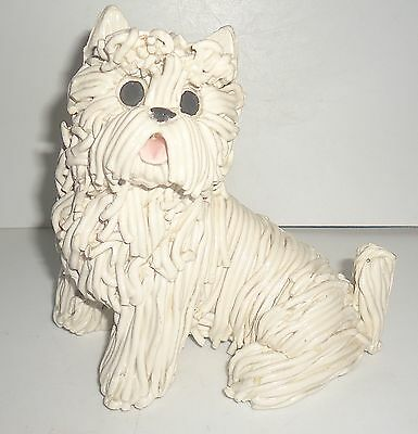 Kathy Wise Hand Made Spaghetti Pottery Sitting West Highland Terrier Dog