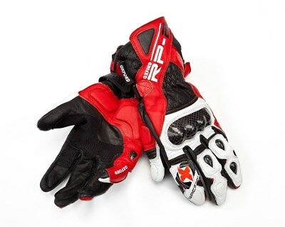 Oxford RP-2 Summer Leather Sports Motorcycle Motorbike Gloves Red/White - SALE