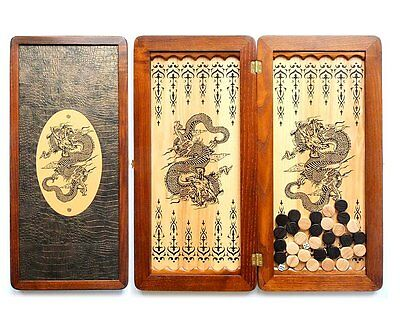 "Large Size Handmade Solid Wooden Backgammon Set Board Game ""Chinese Dragon"""