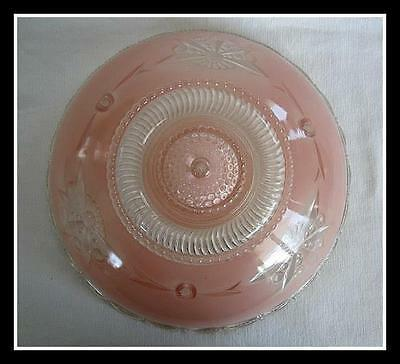 """Vintage Art Noveau Ceiling Light Shade Fancy Pink Glass 3 Chain 10 1/2"""" Round"""