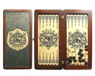 "Large Size Handmade Solid Wooden Backgammon Set Board Game ""Elephant"""