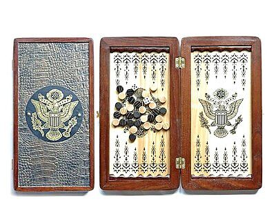 "Portable Size Handmade Solid Wooden Backgammon Set Board Game ""American Eagle"""