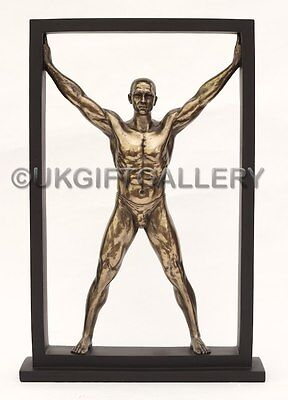 Athletic Semi Nude Male Sculpture in Cold Cast Bronze By Veronese Studio NEW