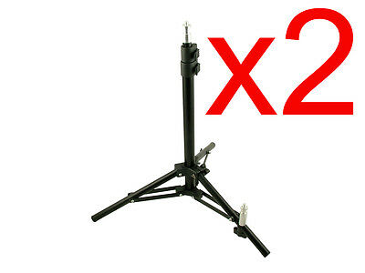 2x Small Studio Light Stands. 2 mountings - Standard 104cm & Low Backlight/Floor