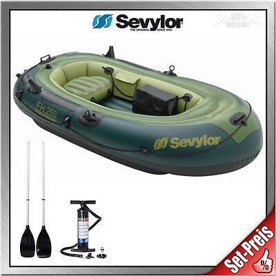 Sevylor Fish Hunter FH 250 Schlauchboot Set mit Pumpe + ExtaSea Alu Riemenpaar