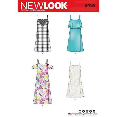 NEW LOOK SEWING PATTERN MISSES' Spaghetti Strap Dresses SIZE 8 - 18 6499