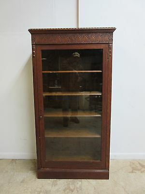 Antique Tiger Oak Carved Book Case Curio Crystal Cabinet Hutch Breakfront