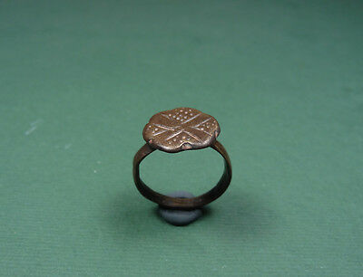 Ancient Bronze Cross Ring Byzantine 400-600 Ad