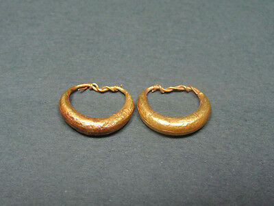 Ancient Gold Earrings Greco-Roman 200 Bc-100 Ad