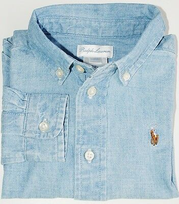 Baby Boy Genuine Ralph Lauren Light Blue Chambray Cotton Shirt 6m,9m,12m,18m,24m