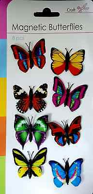New 8 Colourful Butterfly Magnets Assorted Colours Fridge Magnetic Sil