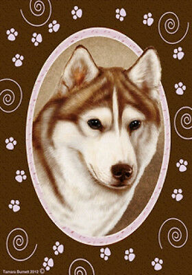 Large Indoor/Outdoor Paws Flag - Red & White Siberian Husky 17230