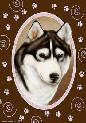 Large Indoor/Outdoor Paws Flag - Black & White Siberian Husky 17038