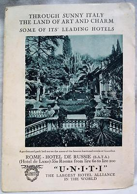 Uniti Hotels Of Italy Advertising Travel & Tourism Brochure Guide 1931 Vintage
