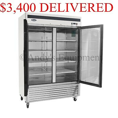 Atosa Double 2 two-Glass Door Commercial Restaurant Upright Freezer on Casters