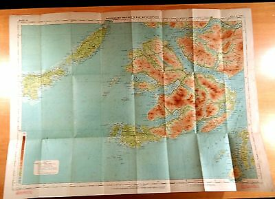 Mull & Iona Scotland Map Bartholomew's Revised Half Inch Contoured Maps on cloth