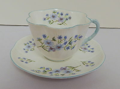 Shelley Blue Rock Dainty Shape Blue Trim Flared Fan Shape Flat Cup & Saucer