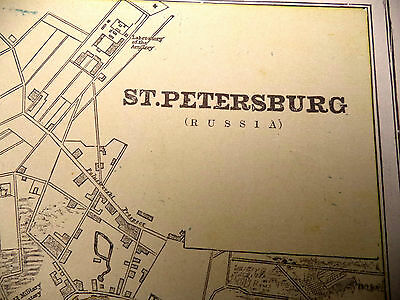 1891 Color Geo Cram Map The City of St Petersburg or Stockholm With Street Names