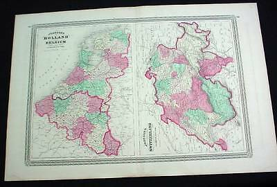 Large Antique Color 1867 Johnson's Map of Switzerland Holland & Belgium
