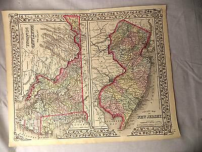 Antique Color Mitchell 1872 County Map of the New Jersey Maryland & Delaware
