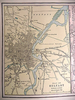 Antique 1891 Color Geo Cram City Map Belfast Dundee Ireland Glasgow Scotland