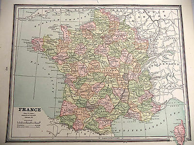 1891 Color Geo Cram Map France or Switzerland & Europe in Napoleon's Time