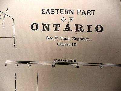 1891 Color Tinted Geo Cram Map Eastern Ontario Cottage Country Be Great Framed