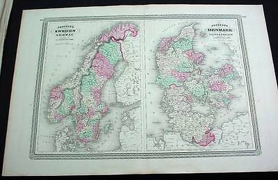 Large Antique Color 1865 Johnson's Map Sweden Norway Denmark Sleswick Holstein