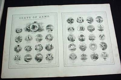 1863 Johnson's Coats of Arms of the United States All 34 of them Civil War Era