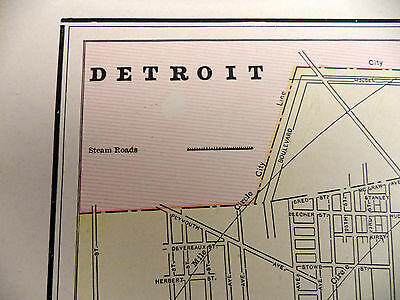 Antique 1891 Geo Cram Color City Map With Street Names Detroit or Kansas Harlem