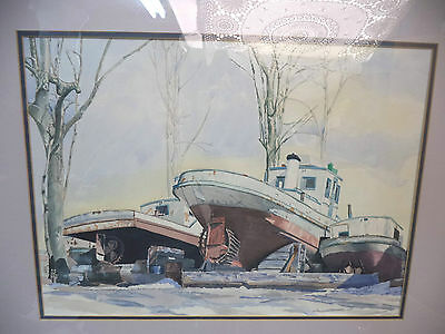 Laid Up Gatineau River Boom Boat Watercolor Painting by Doug Wright Nova Scotia