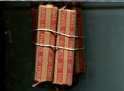 1944 S Lincoln Head Penny 50 Coin Roll Lot Of 7 Circulated 6810H