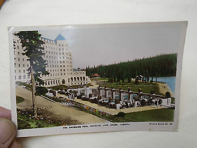 Swimming Pool Chateau Lake Louise Alberta 1938 Postcard Hand Tinted Photo
