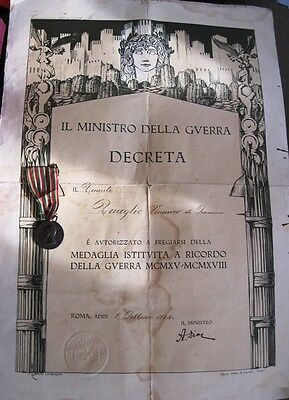 Italy Italian WWI Medal  with big Certificate ! Order