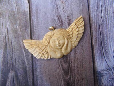 Pendant Necklace Angel Wing From Buffalo Bone Carved with Silver 925_x295